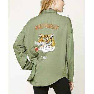 Forever 21 Tiger Embroidered Button Up Top